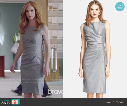 Max Mara Medusa Ruched Seam Wool & Silk Dress worn by Sarah Rafferty on Suits