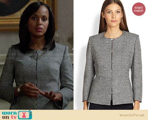 MaxMara Zip Front Peplum Jacket worn by Kerry Washington on Scandal