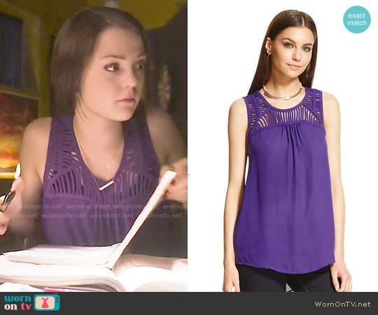 Target MB Tank Top in Grape Escape worn by Kathryn Prescott on Finding Carter