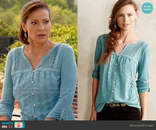Anthropologie Tavia Peasant Top worn by Constance Marie on Switched at Birth