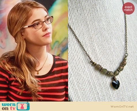 Megs Broken Wings Swarovski Black Heart Pendant Necklace worn by McKaley Miller on Hart of Dixie
