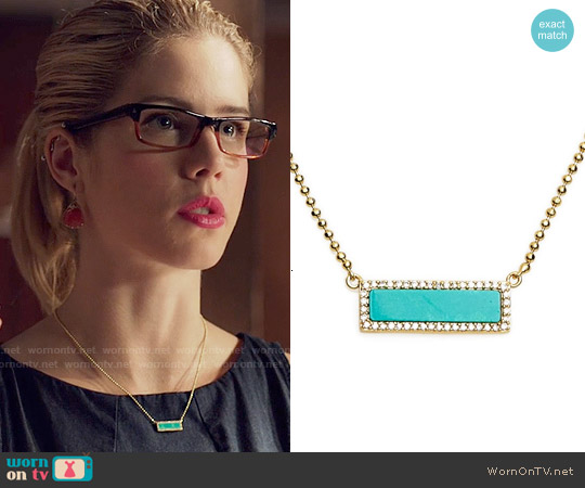 Melanie Auld Bar Pendant Necklace in Gold / Turquoise worn by Emily Bett Rickards on Arrow