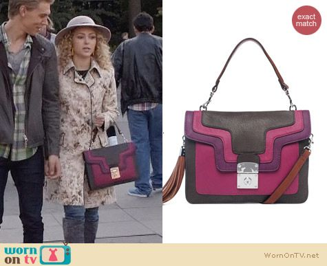 Melie Bianco Juliet Colorblock Bag in Purple worn by AnnaSophia Robb