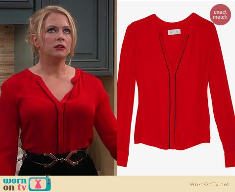 Melissa & Joey Fashion: A.L.C. Marianne blouse in red worn by Melissa Joan Hart