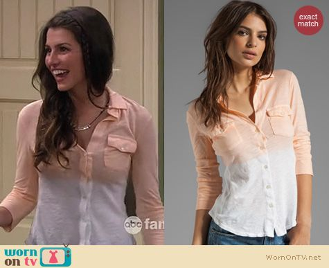 Melissa & Joey Fashion: James Perse Dip Dye Orange shirt worn by Biana Haase