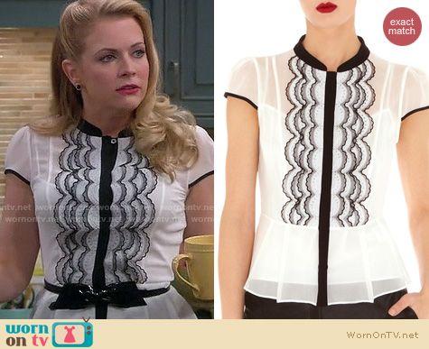 Melissa & Joey Fashion: Karen Millen Scallop Technique blouse worn by Melissa Joan Hart