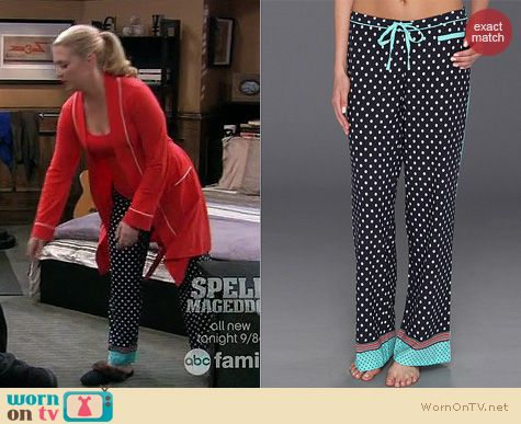 Melissa & Joey Fashion: PJ Salvage Luxe Polka dot Pajama Pants worn by Melissa Joan Hart
