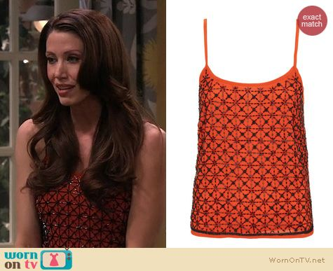 Melissa & Joey Fashion: Topshop Orange Geo Bead Embellished cami worn by Shannon Elizabeth