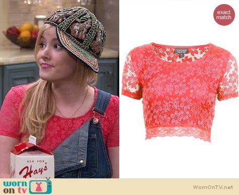 Melissa & Joey Fashion: Topshop Lace Crop Tee worn by Taylor Sprietler