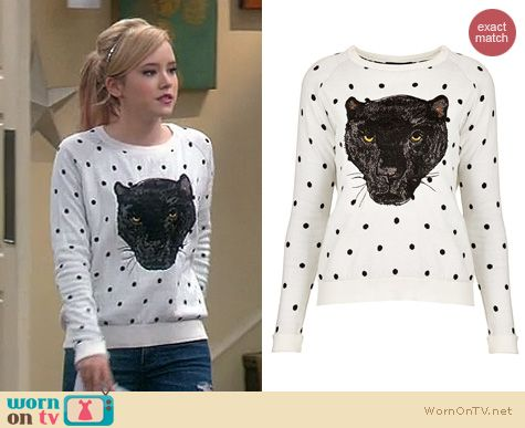 Melissa & Joey Fashion: Topshop polka dot panther sweater worn by Taylor Spreitler
