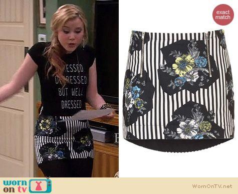 Melissa & Joey Style: Topshop Stripe Floral Pelmet skirt worn by Taylor Sprietler