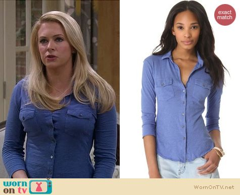 Melissa Joan Hart Fashion: James Perse blue button front shirt