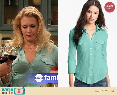 Melissa Joan Hart Fashion: James Perse Mint Slub Shirt worn on Melissa & Joey