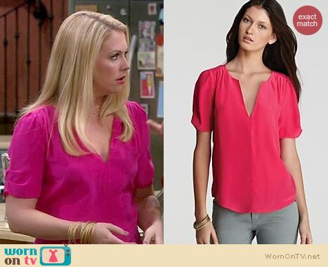 Melissa Joan Hart Fashion: Joie Amone blouse in Bright Fuchsia worn on Melissa & Joey