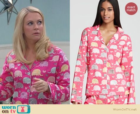 Melissa Joan Hart Fashion: PJ Salvage Elephant Pajama set worn by Melissa & Joey