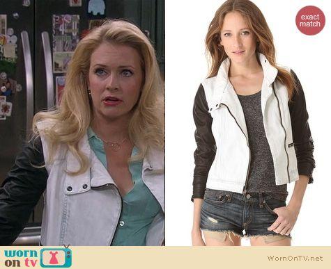 Melissa Joan Hart Fashion: Rag & Bone black and white denim leather jacket worn on Melissa & Joey