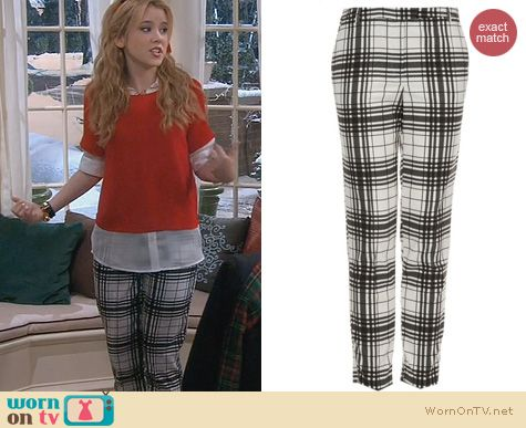 Melissa & Joey Fashion: Topshop Check Cigarette Trousers worn by Taylor Spreitler