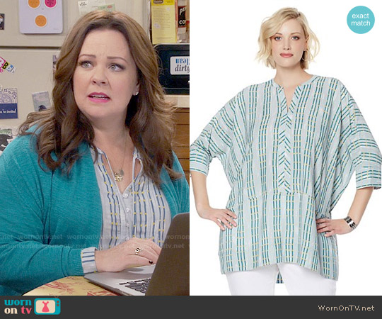 Melissa McCarthy Seven7 Dolman Pullover Blouse in Fanfare worn by Melissa McCarthy on Mike & Molly