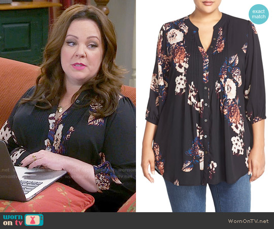 Melissa McCarthy Seven7 Belted Floral Print Pintuck Blouse worn by Melissa McCarthy on Mike & Molly