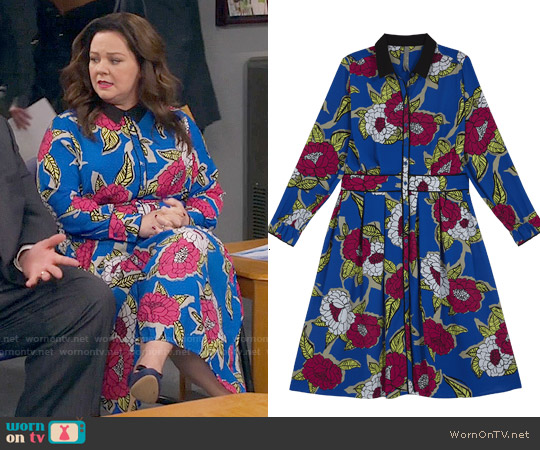Melissa McCarthy Seven7 Blue Floral Maxi Dress worn by Melissa McCarthy on Mike & Molly