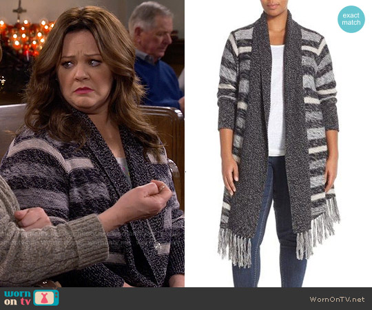 Melissa McCarthy Seven7 Fringe Hem Marled Open Front Cardigan worn by Melissa McCarthy on Mike & Molly