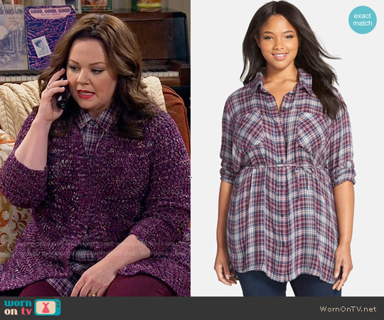 Melissa McCarthy Seven7 Belted Plaid Tunic worn by Melissa McCarthy on Mike & Molly