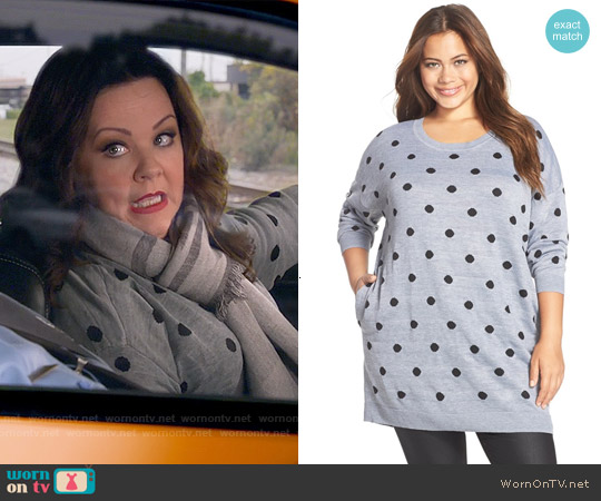 Melissa McCarthy Seven7 Polka Dot Sweater worn by Melissa McCarthy on Mike & Molly