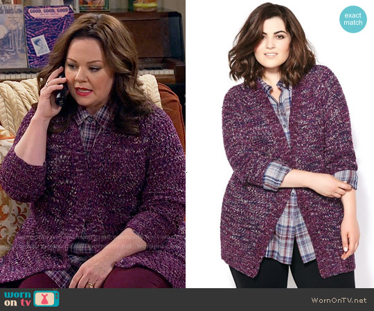 Melissa McCarthy Seven7 Long Sleeve Knit Cardigan worn by Molly Flynn on Mike & Molly
