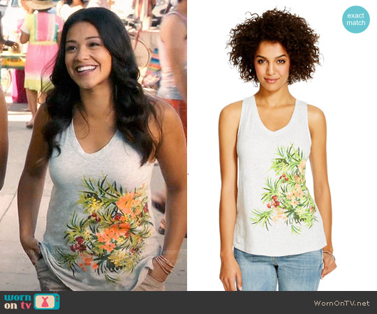 Merona Vintage Slub V-neck Tank worn by Gina Rodriguez on Jane the Virgin