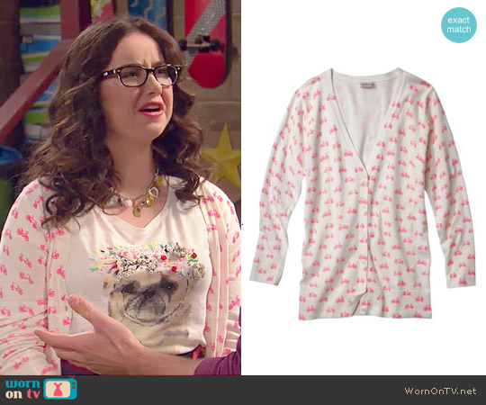 Merona V-neck Cardigan in Bike Print worn by Delia Delfano on IDDI