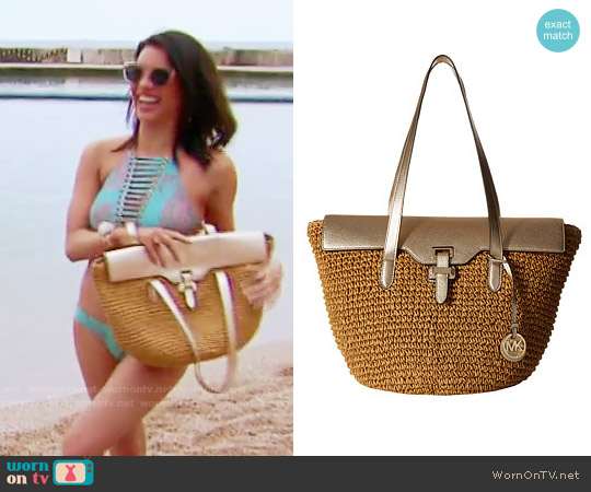 MICHAEL Michael Kors Naomi Tote in Gold worn by Jacqueline MacInnes Wood on The Bold & the Beautiful