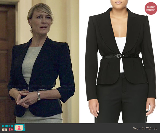 Michael Kors Crepe Short Wool Belted Jacket worn by Claire Underwood on House of Cards
