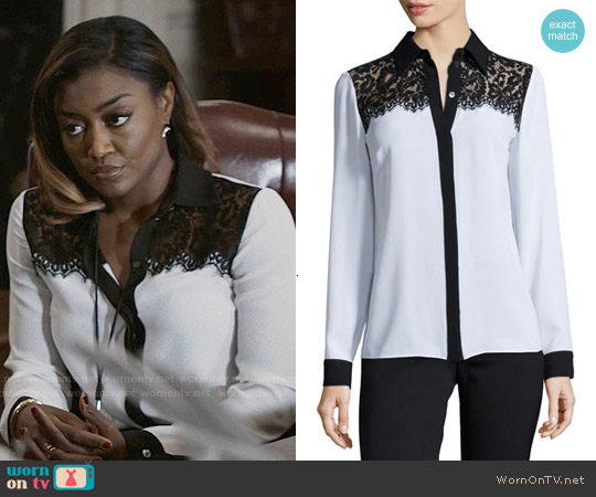 Michael Kors Lace-Yoke Two-Tone Blouse worn by Patina Miller on Madam Secretary