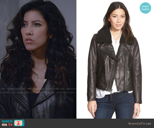 MICHAEL Michael Kors Leather Moto Jacket with Faux Shearling Collar worn by Stephanie Beatriz on Brooklyn Nine-Nine