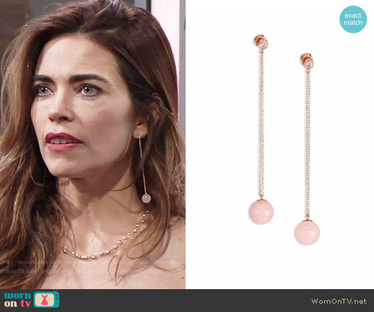 Michael Kors Summer Rush Rose Quartz Drop Earrings worn by Victoria Newman on The Young & the Restless