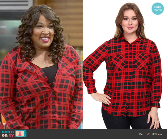 MICHAEL Michael Kors Townsend Embellished Button Down Shirt worn by Kym Whitley on Young & Hungry
