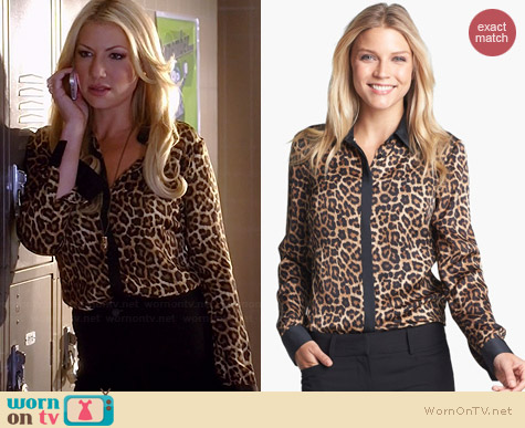Michael by Michael Kors Colorblock Leopard Print Blouse worn by Ari Graynor on Bad Teacher