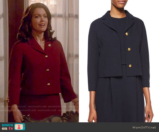 Michael Kors Boucle-Crepe Jacket worn by Bellamy Young on Scandal