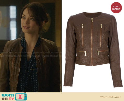 Michael Kors Brown Leather Jacket worn by Kristin Kreuk on BATB