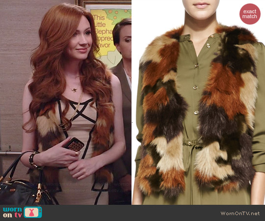 MICHAEL Michael Kors Cami Print Faux Fur Vest worn by Karen Gillan on Selfie
