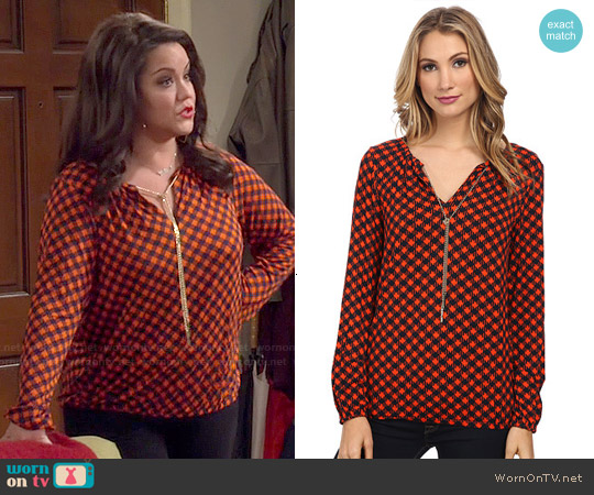 MICHAEL by Michael Kors Chain Neck Printed Blouse worn by Katy Mixon on Mike & Molly