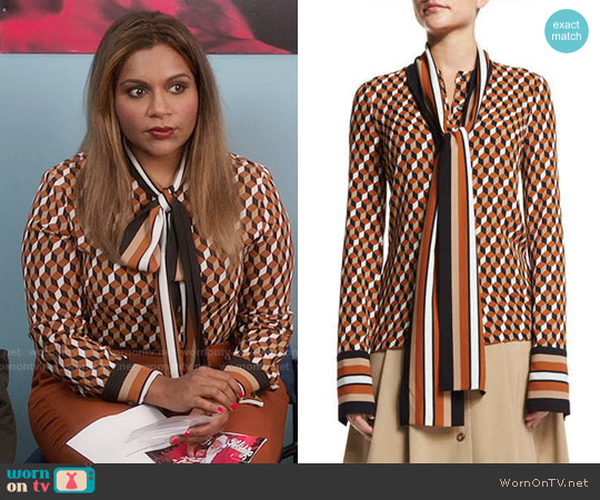 Michael Kors Geometric-Print Scarf Blouse worn by Mindy Kaling on The Mindy Project