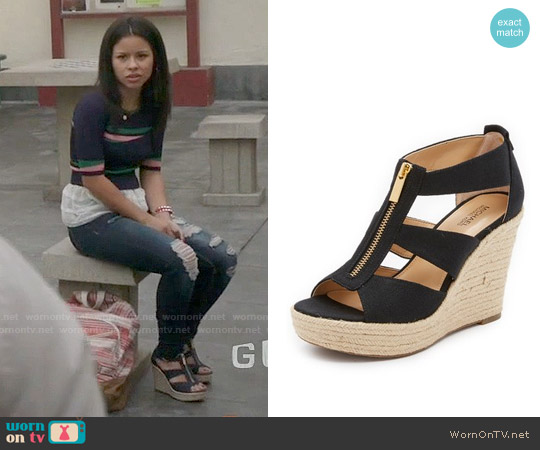 MICHAEL Michael Kors Damita Wedge Sandals worn by Mariana Foster on The Fosters