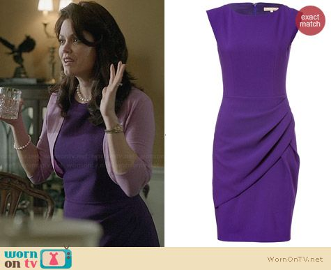 Michael Kors Grape Wool Draped Pleat Dress worn by Bellamy Young on Scandal