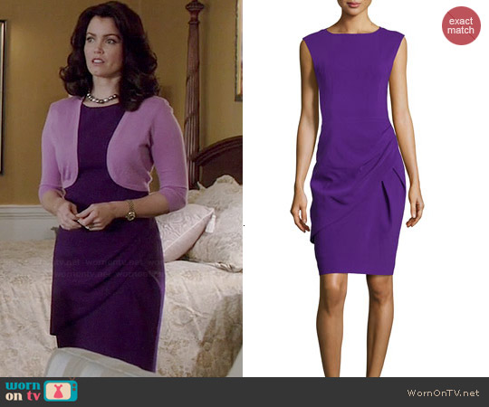 Michael Kors Draped Sheath Dress in Grape worn by Bellamy Young on Scandal