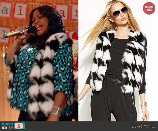 MICHAEL Michael Kors Faux Fur Houndstooth Vest worn by Amber Riley on Glee