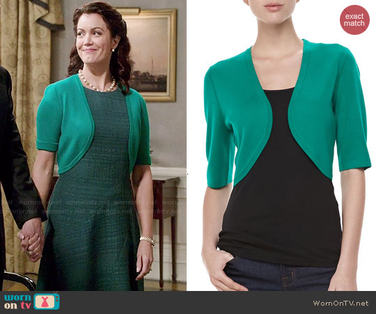 Michael Kors Featherweight Cashmere Shrug in Emerald worn by Mellie Grant on Scandal