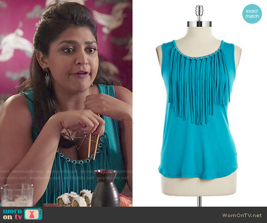 MICHAEL Michael Kors Fringe Top in Tile Blue worn by Punam Patel on Kevin from Work