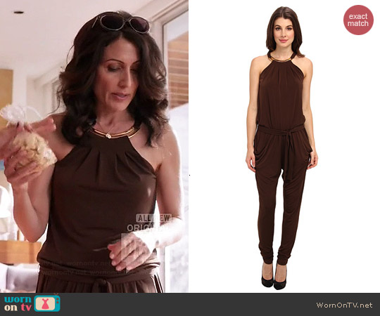 MICHAEL Michael Kors Matte Jersey Halter Jumper worn by Lisa Edelstein on GG2D