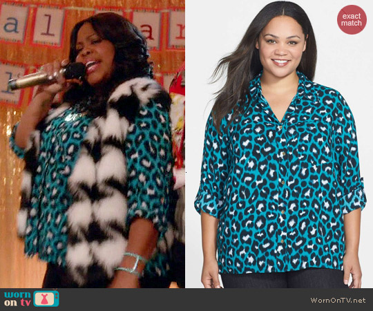 MICHAEL Michael Kors Kasuri Leopard Shirt worn by Mercedes Jones on Glee